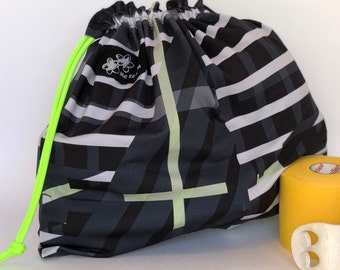 Blue Black Green abstract print, Gymnastic Grip drawstring bags, drawstring bag, grip bag, gym bag, gymnastic bag, swimsuit bag