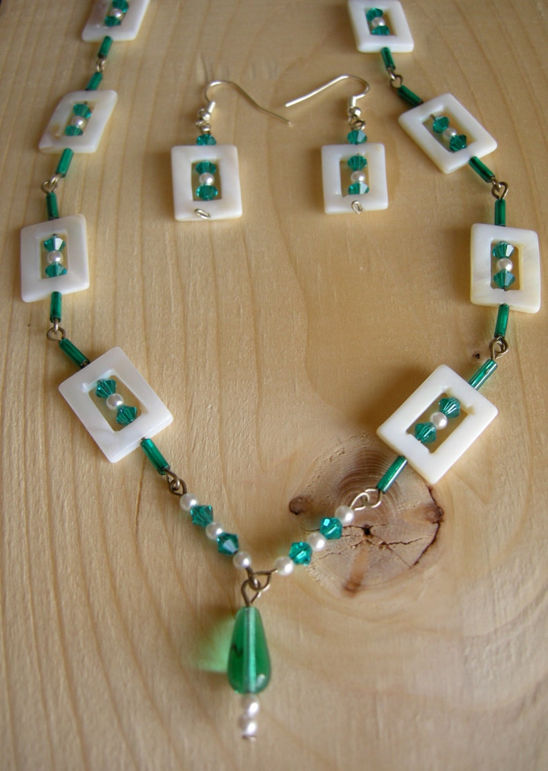 handmade jewelry set Teal and Mother of Pearl Jewelry set Necklace and earrings