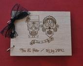 Sugar Skull Guest Book Till Death Do Us Part Sugar Skull Wedding Wood Wedding Guest Book Personalized Photo Album Wood Guest Book