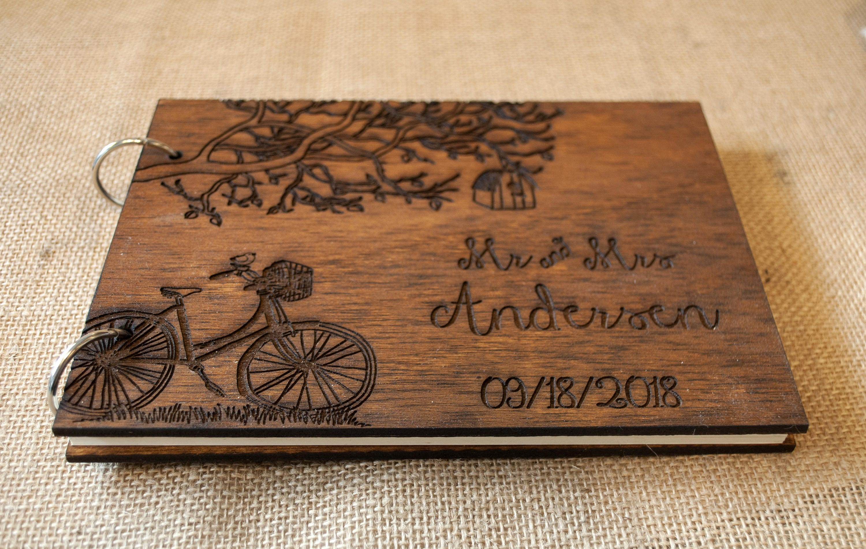 Personalized Wedding Guest Book,Rustic Wedding Photo Album,Wooden Tree GuestBook