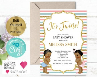 Twin baby shower invitation etsy twins baby shower invitation boy and girl baby shower girl and boy baby shower gold baby shower invitation digital or printed edit filmwisefo