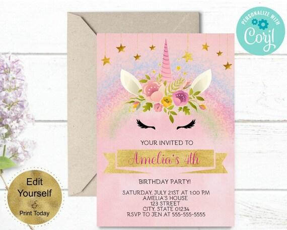 RAINBOW UNICORN Birthday Invitation Rainbow Unicorn