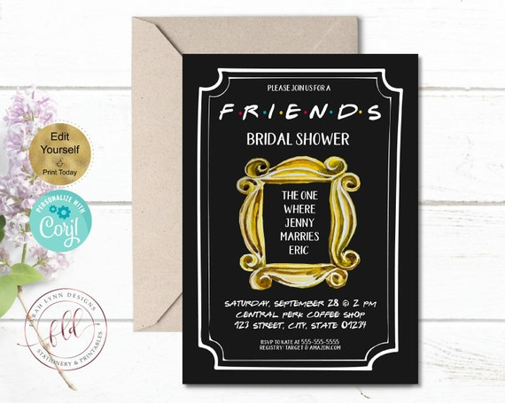Editable Friends Bridal Shower Invitation Template Friends Tvshow Birthday Invitation Yellow Black White Instant Download Diy