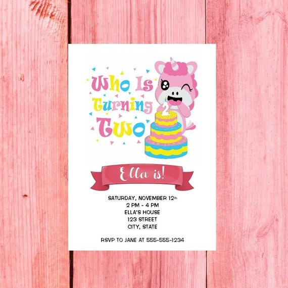 Turning 2 invitations 2 year old birthday invitation unicorn stopboris Choice Image