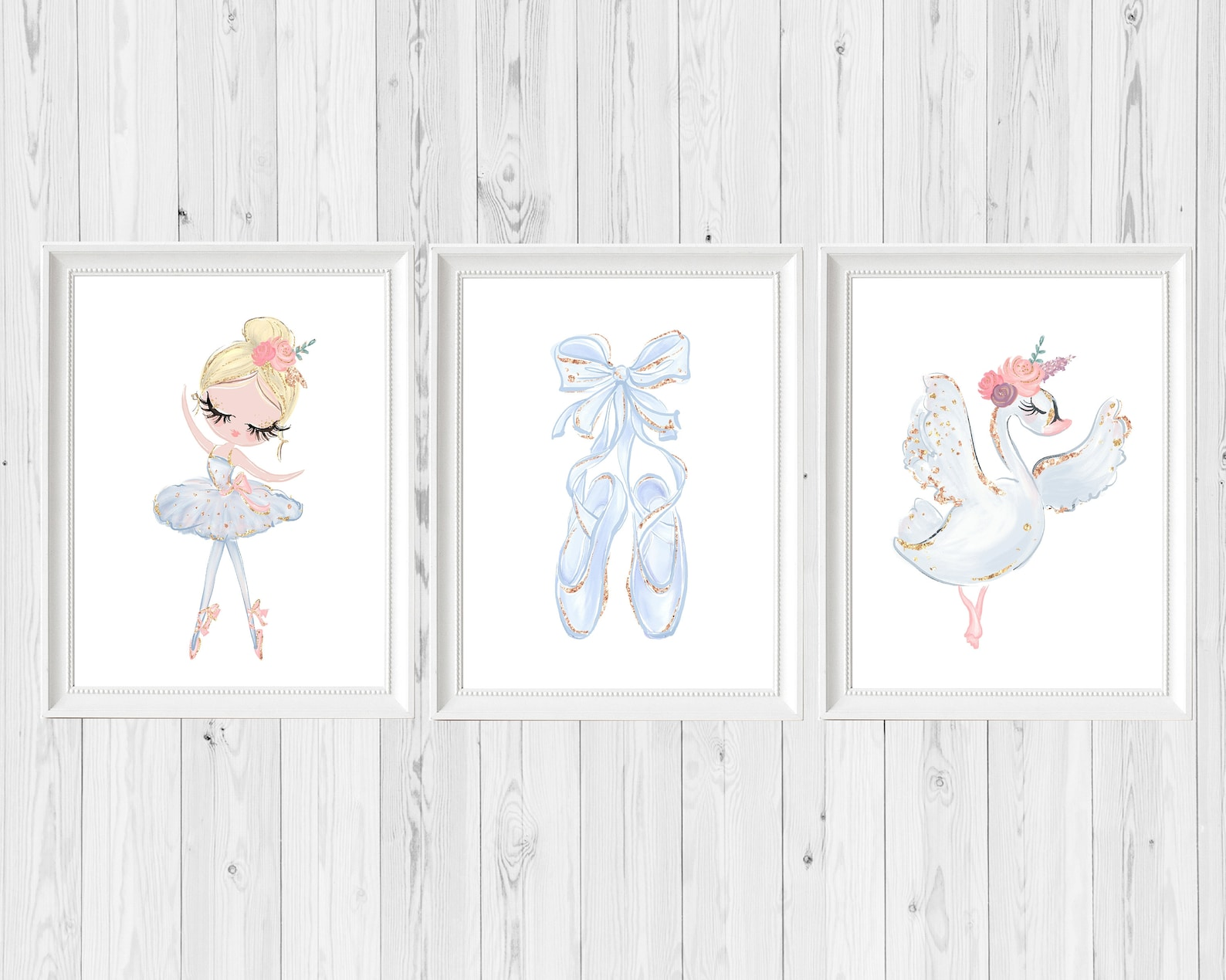ballerina nursery, swan wall art print, ethereal pink sparkle, ballet shoes, baby girl, whimsical bohemian, floral printable, pr