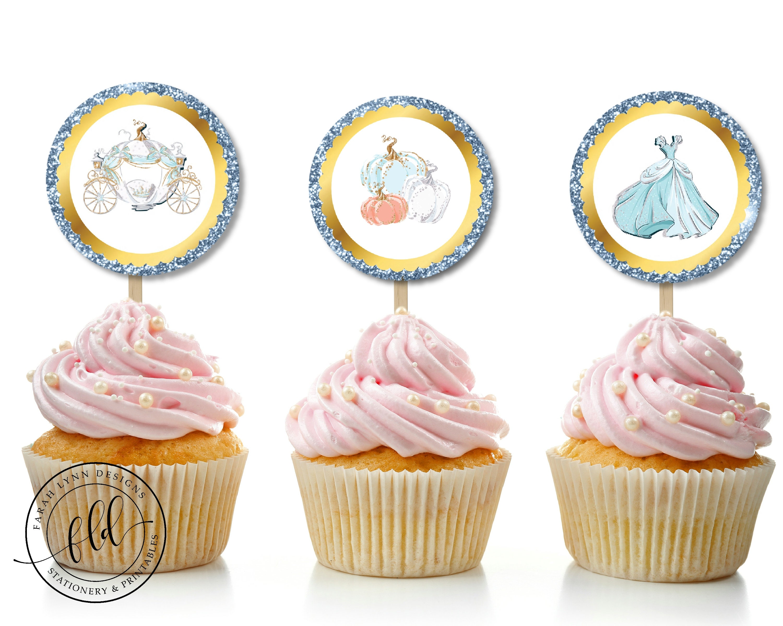 Enjoyable Cinderella Cupcake Toppers Cinderella Birthday Party Decor Birthday Cards Printable Inklcafe Filternl
