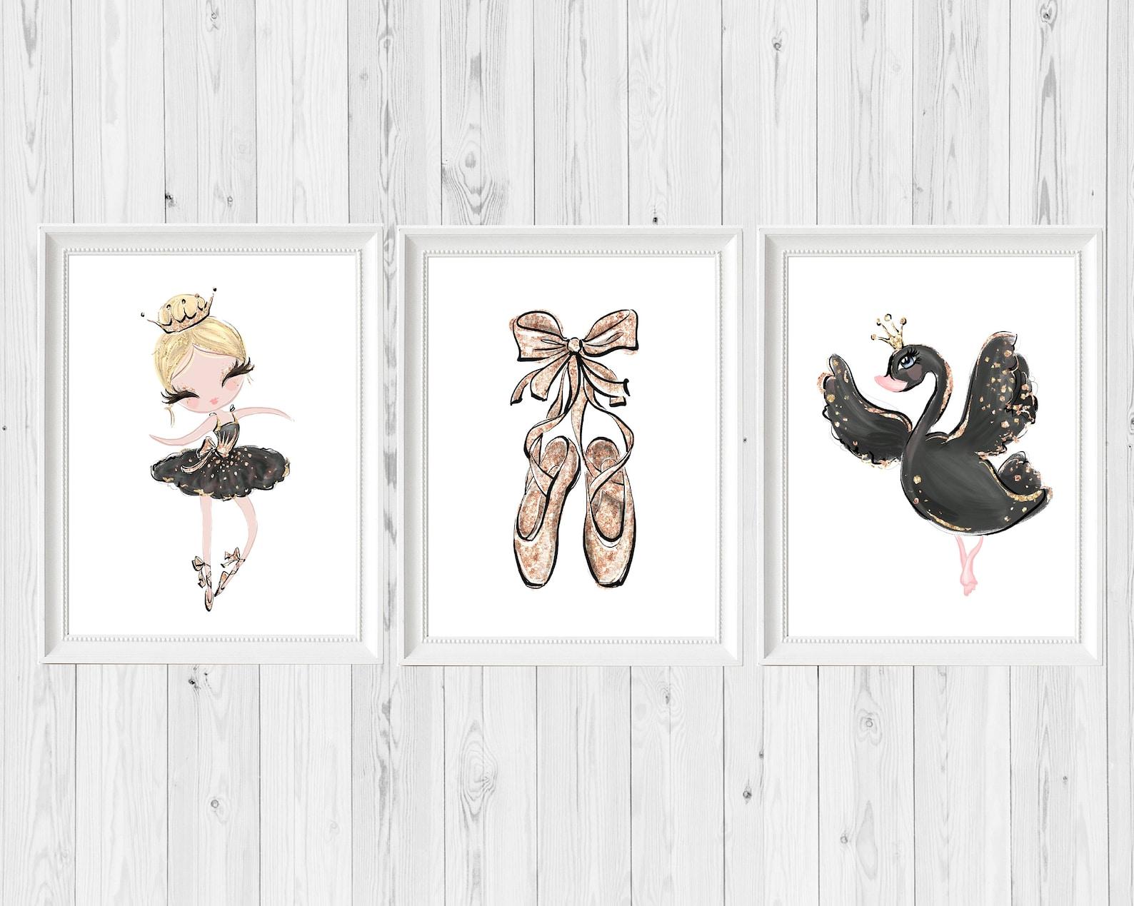 ballerina nursery art, black swan wall art print, ethereal gold sparkle, black ballet shoes, baby girl, whimsical bohemian, prin