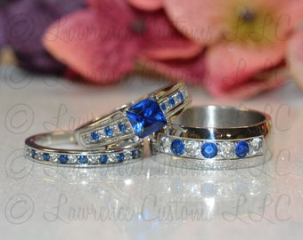 His and Hers Matching 316L Stainless Steel, Sapphire Blue Wedding Engagement Couple Rings Set, Stone Customization options available.