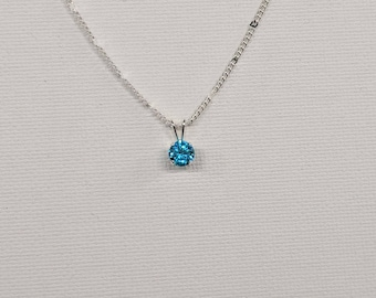 Solitaire Necklace,Birthstone Necklace,Sterling Silver,Diamond Simulant pendant, 18 Inch hammered Curb Chain necklace, .925 Sterling Silver