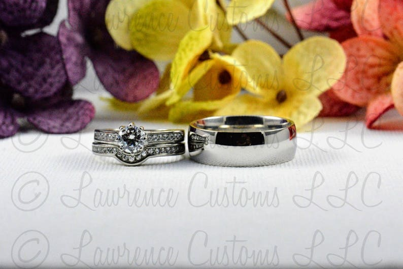 Man Made diamond simulant Wedding ring couples set his and image 0