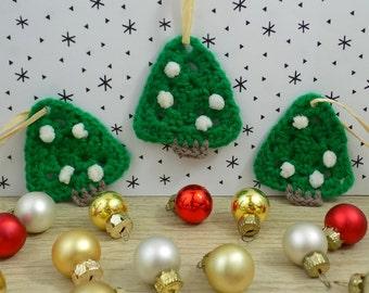 Christmas decorations. Mini Christmas trees. Hand made crochet. Hang on the tree