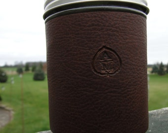 Leather Mason Jar Sleeve  with Leaf Logo -made of Stone Oiled Leather (Does not include glass)