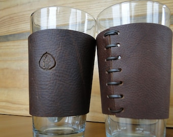 Leather Pint Glass sleeve with custom lettering ( Does not include glass)