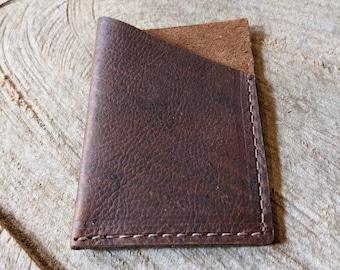 Leather Minimalist Wallet / Leather Card Holder / Leather Front Pocket Wallet