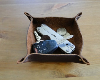 Leather Valet Tray - Deep Brown