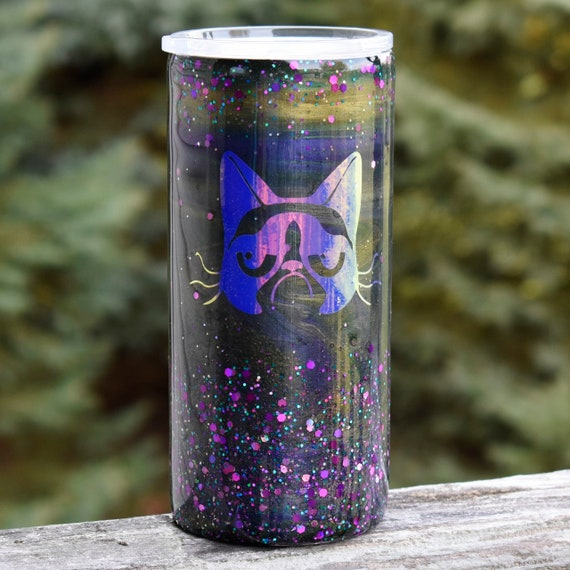 RTS Purple Green Grumpy Cat 22 Oz Tumbler Cups Gift For Her