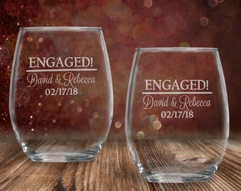 Engagement Gift for Couple  Set of 2 Personalized 13 oz stemless wine glasses | Engaged Couple Gift | Engaged Wine Glasses