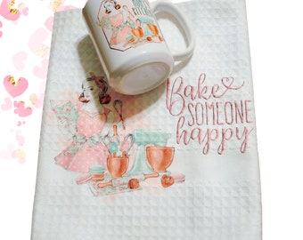 Personalized Coffee Mug Towel Set | Coolest Coffee Mugs | Fifties Style Coffee Mugs | Big Coffee Mugs | Mothers Day Gift | Bride to Be Gift