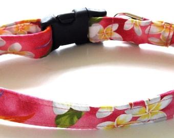 Hawaiian Fabric Over Webbing Adjustable Dog Collar--Kona Hand Made in Hawaii with Aloha