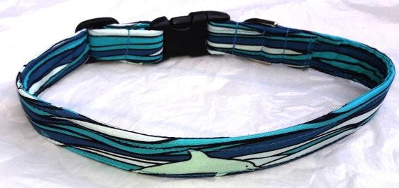 Hawaiian Fabric Over Webbing Adjustable Dog Collar-Blue Surfboards 2 Hand Made in Hawaii with Aloha