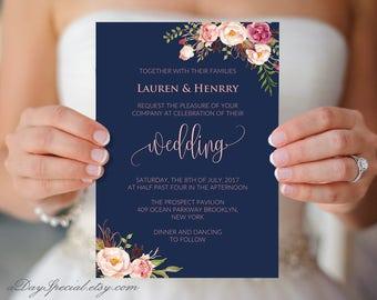 Navy Wedding Invitation Template, Pink Coral Boho Chic Floral, Printable 5x7 card, Fits Vistaprint Uprinting, DIY PDF Instant Download #103