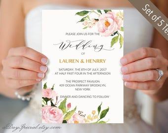 5 Peony Wedding Invitation Templates, Printable Wedding Invitation Suite, Floral Wedding Invites set templates, PDF Instant Download #104