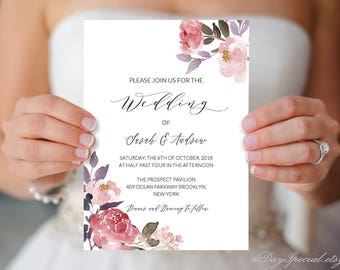 peony wedding invitation template printable pink floral etsy