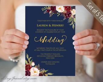 Printable 5 Navy Gold Wedding Invitation cards, Burgundy Pink Floral Wedding Invites template Set, Rustic Boho DIY PDF Digital Download #109
