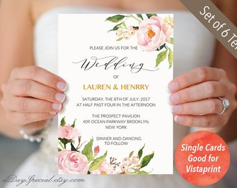 4 Double sided Peony Wedding Invitation Templates, Single Cards fit Vistaprint, Printable Floral Wedding Invites Suite, PDF Download #104