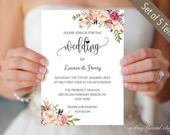 Set of 5 Pink Rose Wedding Invitation Card Templates, Printable Wedding Invites set, Floral Boho Wedding cards, DIY Instant Download  #102