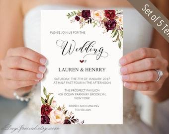 Set of 5 Burgundy Floral Wedding Invitation Templates, Printable Wedding Invites Suit, Rustic Boho, Winter Wedding Invite Set DIY PDF #101