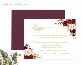 Burgundy Floral Gold Foil Wedding RSVP card Template, Printable Wedding Response Card, Fits Vistaprint, DIY PDF Instant download #105
