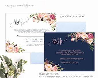 Navy Wedding RSVP Card Template, Pink Coral Boho Chic Floral, Printable rsvp card, Fits Vistaprint Uprinting, DIY PDF Instant Download #103