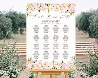 Table Layout Table Poster Seating Plan Signage INSTANT DOWNLOAD Portrait Peonies Seating Chart Blush Pink Sign INSW005