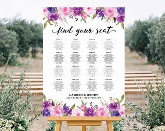 Lavender Wedding Seating Chart Template, Printable Purple Lilac Floral Seating Plan, up to 30 Table, Large Poster, PDF Instant Download #111