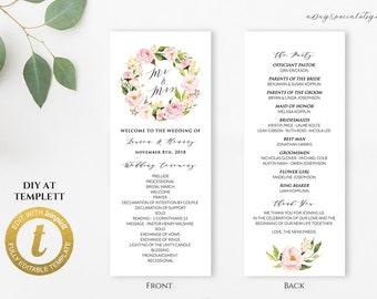 All Editable Pink Peony Floral Long Program Template Printable Double Sided Wedding Vistaprint Rack Card Edit At Templett104118