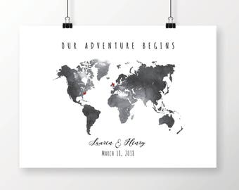 Black watercolor map etsy printable black gray watercolor world map wedding guest book editable pdf template diy personalized large print 24x36 18x24 download gumiabroncs Gallery