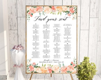 Peach and Cream Floral Alphabetical Seating Chart Template, Printable Wedding Seating Plan, up to 300 guests, DIY PDF Instant Download #106