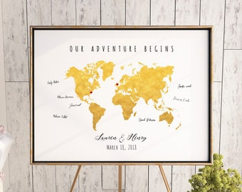 Printable magenta watercolor world map guest book hot pink etsy printable gold world map wedding guest book editable pdf template diy personalized large print 24x36 18x24 16x20 instant download gumiabroncs Choice Image