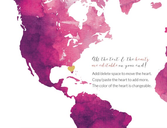 Hot Pink Printable Magenta Watercolor World Map Guest Book Editable PDF Template DIY Personalized Large Print 24x36 18x24 Instant Download