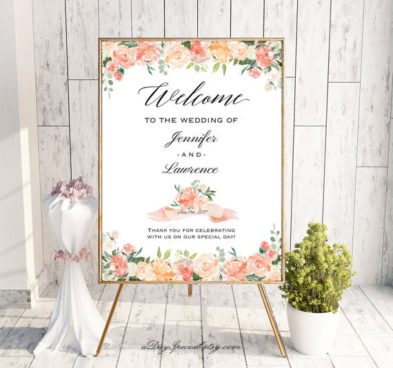 Peach And Crean Wedding Welcome Sign Templates Printable Etsy