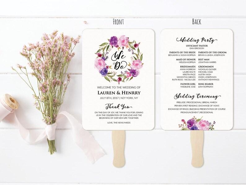 Vistaprint Wedding Programs.5x7 Lavender Wedding Program Fan Template Printable Double Sided Purple Lilac Floral Wedding Ceremony Vistaprint Diy Pdf Download 111