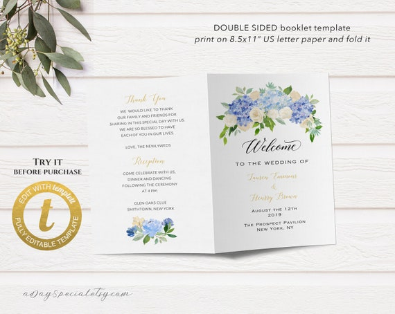 Printable Bi-fold US Letter Wedding Program Booklet Template | Etsy