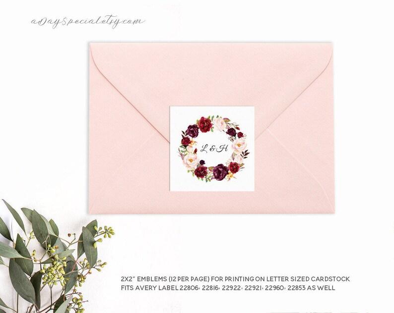 2x2 Avery Label Printable Floral Return Address Label sticker DIY PDF Instant Download #101 Burgundy Wreath Emblem Template Uprinting