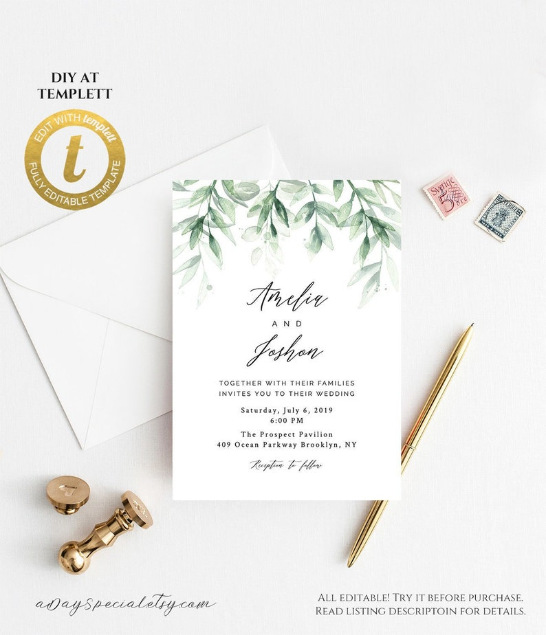 All Editable Greenery Leaf Wedding Invitation Template Printable Green Branch Leaves Invite Fit Vistaprint Edit At Templett 131