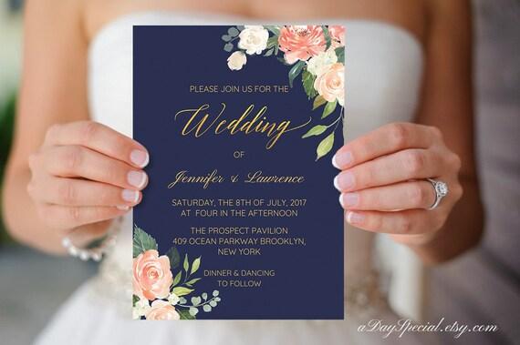 Navy And Peach Wedding Invitations: Printable Navy Blue Peach Cream Floral Wedding Invitation