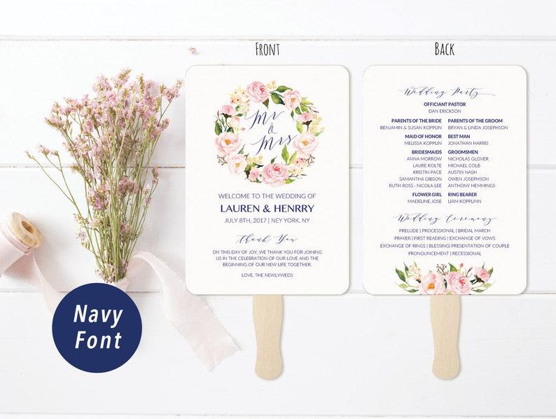 Vistaprint Wedding Programs.5x7 Peony Wedding Program Fan Style Template Navy Font Printable Double Sided Wedding Ceremony Vistaprint Diy Pdf Download 118 108