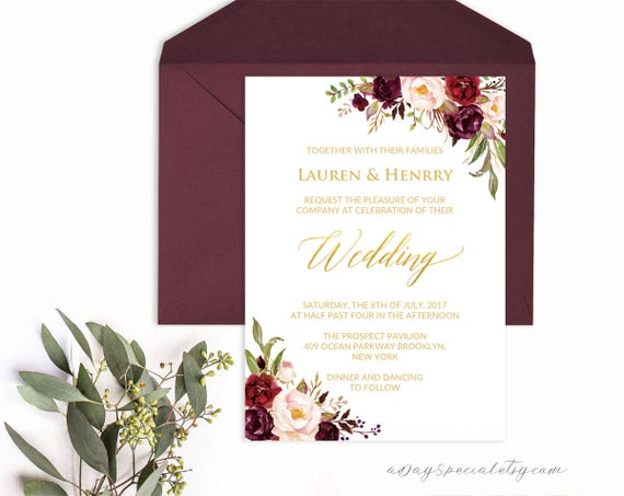 Burgundy And Gold Wedding Invitations: Burgundy Floral Gold Foil Wedding Invitation Template