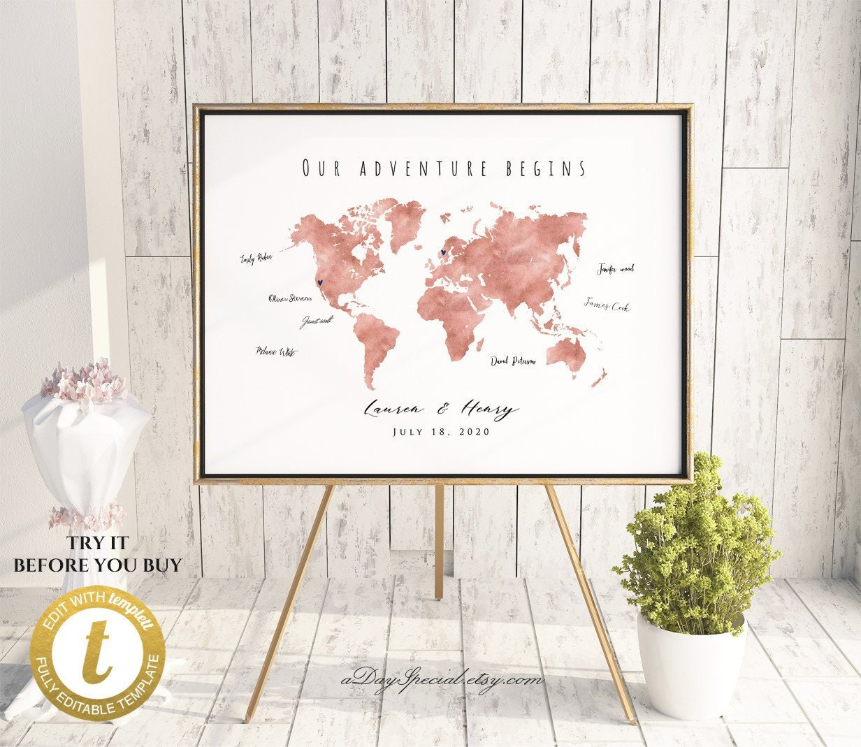 Printable Rose Gold World Map Wedding Guest Book, Editable Large World on united states map, editable map, flat global map, can i highlight map,