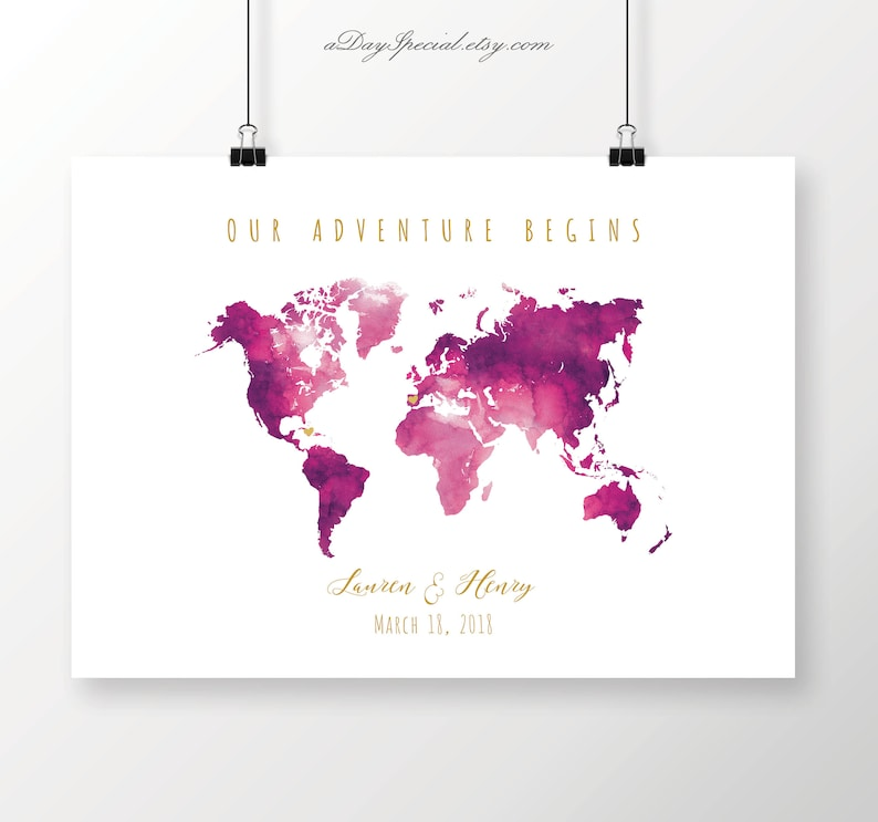 Printable Magenta Watercolor World Map Guest Book Hot Pink Etsy